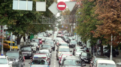 Timelapse of moving cars stuck traffic jam, large city street Stock Footage