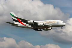 emirates airbus a380 - stock photo