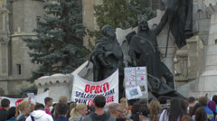 Animal rights protest statue Stock Footage