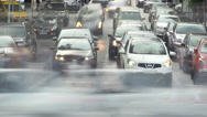 Stock Video Footage of Time lapse cars turn left right, stop, people walk