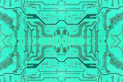 Green symmetrical electronic microcircuit.background. Stock Photos