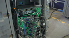 computer back side network server lots of wires - stock footage