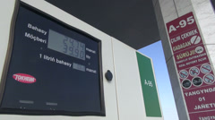 Petrol station, meter, Turkmenistan, cheap gasoline, state sponsored Stock Footage