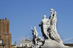 Statues in the monument of victor emmanuel ii Stock Photos