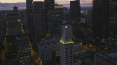 Aerial close up illuminated sunset Skyscraper view  Seattle, USA Stock Footage
