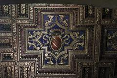 ceiling detail in the basilica of st. mary of the altar of heaven - stock photo
