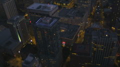 Aerial illuminated close up Skyscraper rooftop view Seattle, USA Stock Footage