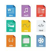 File Icons in Flat Style Stock Illustration