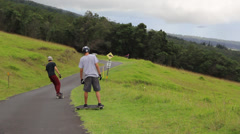 Skateboarding down hill - Upcountry Maui Stock Footage