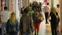 People walking in shopping center, trade center crowd indoors Stock Footage