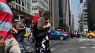 Stock Video Footage of Pedestrian Crossing and Traffic Bryant Park NYC