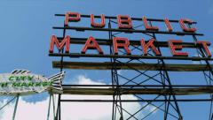 Public Market Centre famous fish market, Seattle, USA - stock footage