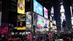 Times Square NYC at night 3 Stock Footage