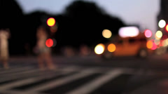 Central Park Street Crossing Traffic Bokeh Stock Footage