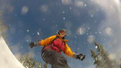 Snowboard view Stock Footage
