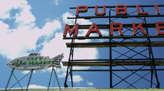 Public Market Centre famous fish market, Seattle, USA Stock Footage