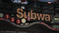 Stock Video Footage of NYC Subway Sign in Times Square