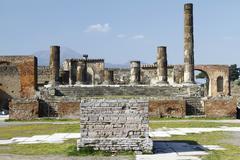 pompeii archeological ruins - stock photo