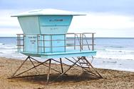 Stock Photo of Lifeguard stand California No Lifeguard