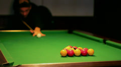 Pool / Billiards Game - Break Shot Stock Footage