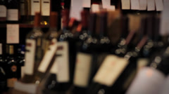 Wine Bottles on Display - Pull Focus Stock Footage