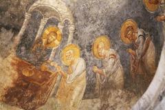 Old fresco on the wall of st.nicholas church, demre Stock Photos