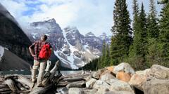 Male hiker Lake Moraine, Banff, Alberta, Canada - stock footage