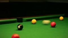 Pool / Billiards Game - Pocket Yellow Side Stock Footage