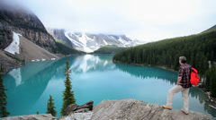 Male hiker Lake Moraine, Banff, Alberta, Canada - stock footage
