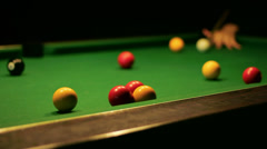 Pool / Billiards Game - Close Up Shot Stock Footage