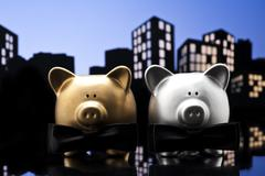 Metropolis city gay piggy bank civil union Stock Illustration