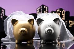 Metropolis city lesbian piggy bank civil union Stock Illustration