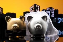 Metropolis city pig wedding the piggy bank with veil and bow tie Stock Illustration