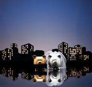 Metropolis city pig wedding Stock Illustration