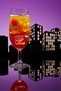 metropolis tequila sunrise cocktail - stock illustration