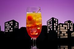 Metropolis tequila sunrise cocktail Stock Illustration