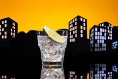 metropolis gin tonic cocktail - stock illustration