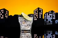 Stock Illustration of metropolis gin tonic cocktail