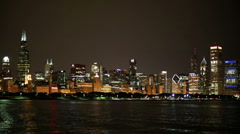 Chicago skyline night Stock Footage