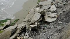Debris on beach Stock Footage