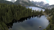 Stock Video Footage of Aerial view lake and mountain wilderness Rockies