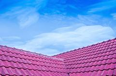 When the sky crystallize freezing to icy over red tiled roof Stock Photos
