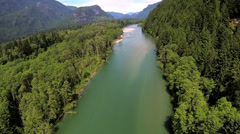 Aerial view of conifer wilderness river remote area, USA - stock footage