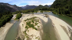 Aerial view wild river driftwood wilderness area, Canada - stock footage