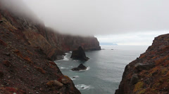 Cape San Lorenzo on the island of Madeira in fog Stock Footage