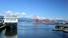Canada Place cruise ship terminal, Vancouver Stock Footage