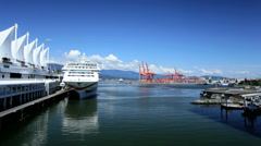 Canada Place cruise ship terminal, Vancouver - stock footage