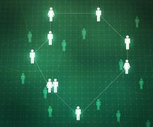 social network green background - stock illustration