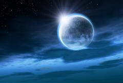 Moon with Rising Sun Stock Illustration