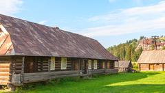 old deserted wooden farm house. - stock photo